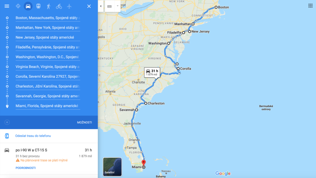 East coast USA road trip